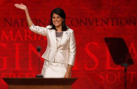 South Carolina Governor Nikki Haley waves as she arrives to address delegates during the second session of the Republican National Conventio