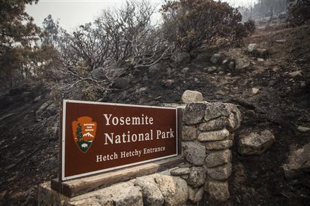 A sign on the edge of Yosemite National Park, California, is surrounded by a burn from the Rim Fire, August 23, 2013.  REUTERS/Max Whittaker