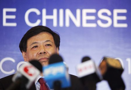 China's Vice Finance Minister Zhu Guangyao addresses the media during a news conference at a hotel in Los Cabos June 17, 2012. REUTERS/Strin