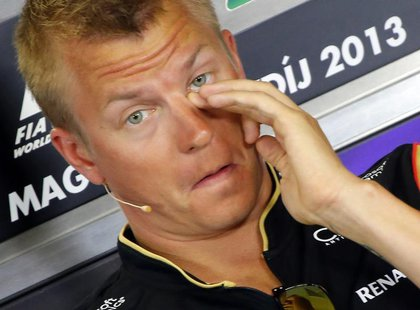 Lotus Formula One driver Kimi Raikkonen attends a news conference at the Hungaroring circuit in Mogyorod, near Budapest, July 25, 2013. REUT