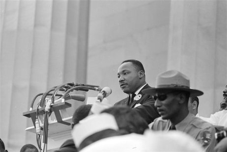 "Rev. Martin Luther King Jr. delivers his ""I Have a Dream"" speech from the steps of the Lincoln Memorial during the march on Washington for J"
