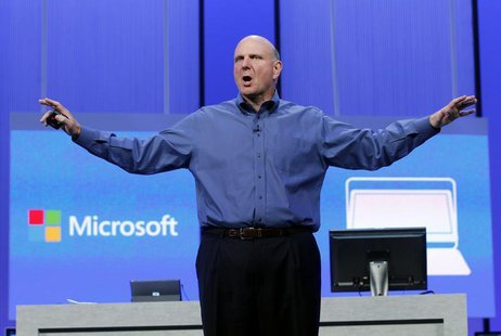 "Microsoft CEO Steve Ballmer gestures during his keynote address at the Microsoft ""Build"" conference in San Francisco, California June 26, 20"