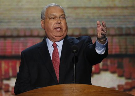 Boston Mayor Thomas Menino addresses delegates during the second session of the Democratic National Convention in Charlotte, North Carolina,