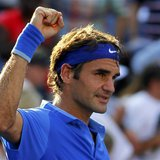 Roger Federer of Switzerland reacts after his win over Grega Zemlja of Slovenia at the U.S. Open tennis championships in New York August 27,