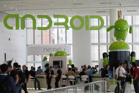 Attendees gather at the Android developer sandbox during the Google I/O Conference at Moscone Center in San Francisco, California June 28, 2