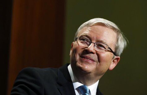 Australian Prime Minister Kevin Rudd smiles during his speech at the Lowy Institute for International Policy as part of his election campaig