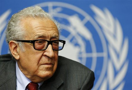 Arab League-United Nations envoy Lakhdar Brahimi pauses during a news conference on the situation in Syria at the United Nations European he
