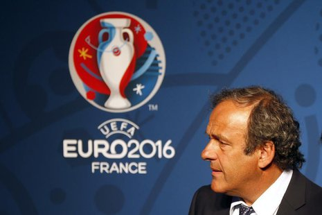 Michel Platini, UEFA President reacts in front of the UEFA EURO 2016 logo at a news conference in Paris June 26, 2013. REUTERS/Charles Plati