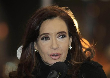 Argentina's President Cristina Fernandez de Kirchner speaks after arriving at the Silvio Pettirossi airport in Asuncion August 14, 2013. REU