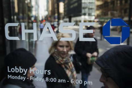 A customer walks out of a branch of the JPMorgan Chase & Co bank in New York, March 15, 2013. REUTERS/Lucas Jackson