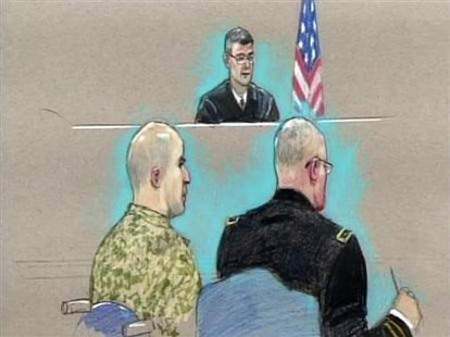 U.S. Army Major Nidal Malik Hasan (L) appears before the Fort Hood Chief Circuit Judge Colonel Gregory Gross (C-rear) with a military lawyer (R) during an arraignment as seen in this courtroom sketch, July 20, 2011. Credit: Reuters/Pat Lopez/Pool
