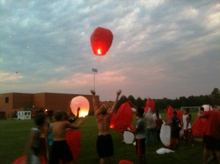 Lantern balloon lighting at Coldwater High School 8-27-2013