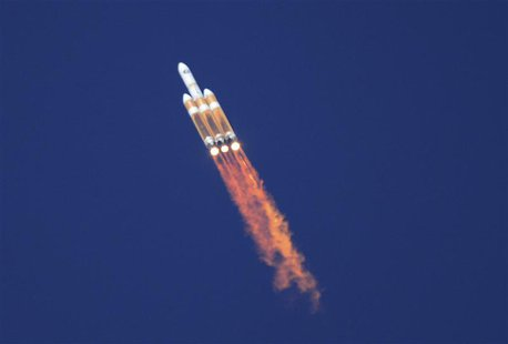 An unmanned Delta 4 Heavy rocket, the largest booster in in the U.S. fleet, lifts off from Vandenberg Air Force Base in California August 28