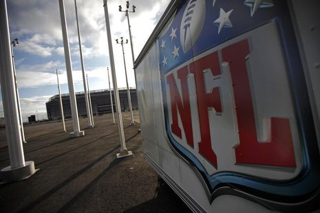 The NFL logo is seen on a trailer parked near the New Meadowlands Stadium March 14, 2011 file photo. REUTERS/Mike Segar
