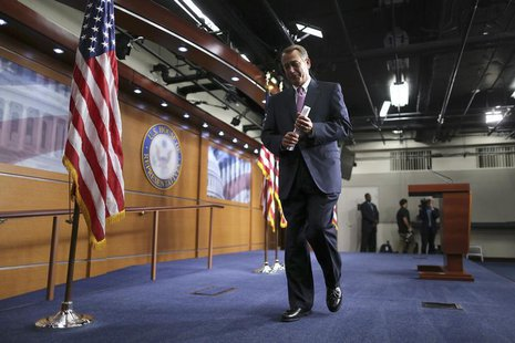U.S. House Speaker John Boehner (R-OH) departs after a news conference on Capitol Hill in Washington, June 27, 2013. REUTERS/Jonathan Ernst