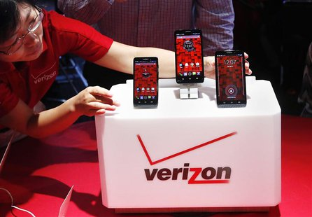 The Droid Mini, Droid Ultra and Droid Maxx are seen on display during the Verizon Wireless media event in New York in this July 23, 2013 fil