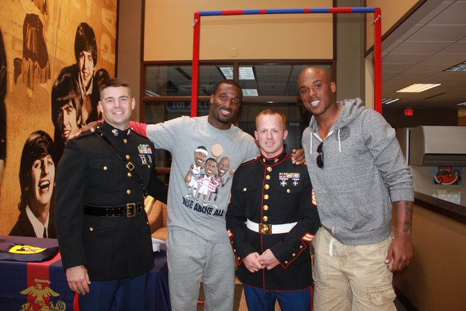 James Jones and Jermichael Finley with The Marines