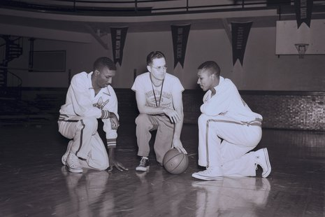 "Coach Dwane ""Cloddy"" Clodfelter with Dwane with Jimmie and Cliff Daniels. (USD.edu)"
