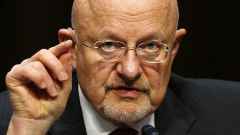 "Director of National Intelligence James Clapper testifies before a Senate Intelligence Committee hearing on ""Current and Projected National"