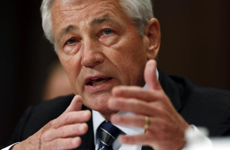 "U.S. Secretary of Defense Chuck Hagel testifies at a Senate Appropriations Defense Subcommittee hearing on ""Department Leadership."" on Capit"