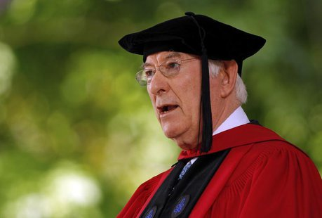 "Nobel prize winning poet Seamus Heaney recites his poem ""Villanelle for an Anniversary"" during the 361st Commencement Exercises at Harvard U"
