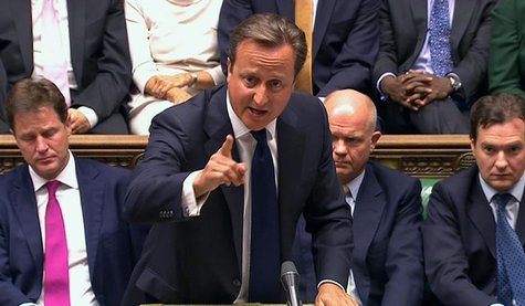 Britain's Prime Minister David Cameron is seen addressing the House of Commons in this still image taken from video in London August 29, 201