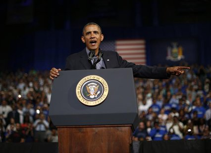 U.S. President Barack Obama delivers remarks at the University of Buffalo, New York, August 22, 2013. Obama is travelling through New York s