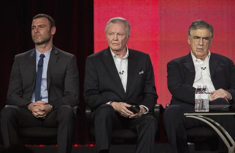 "Actors Liev Schreiber (L), Jon Voight and Elliott Gould (R) of the show ""Ray Donovan"" listen to questions on stage during the Showtime panel"