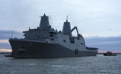 The amphibious transport dock ship USS San Antonio (LPD 17) departs Naval Station Norfolk in Norfolk, Virginia October 31, 2012 in this hand