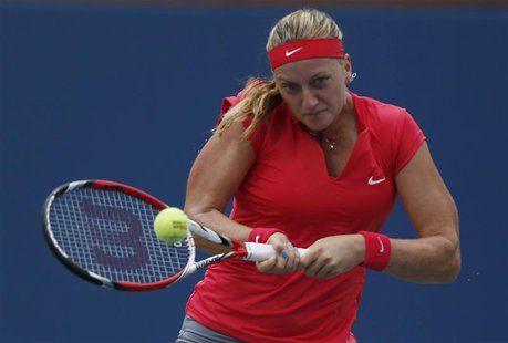 Petra Kvitova of the Czech Republic hits a return to Alison Riske of the U.S. at the U.S. Open tennis championships in New York August 31, 2