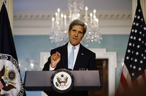 U.S. Secretary of State John Kerry speaks about the situation in Syria at the State Department in Washington, August 30, 2013. REUTERS/Jason