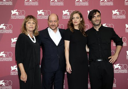 Director Alexandros Avranas (R) poses with actors Eleni Roussinou (2nd R), Reni Pittaki (L) and Themis Panou during a photocall for their mo
