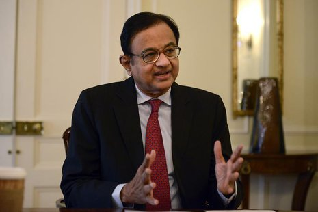 India's Finance Minister Palaniappan Chidambaram speaks during a news conference in New York, April 17, 2013. REUTERS/Keith Bedford