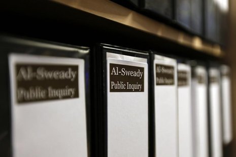 Files are seen at the venue of the Al-Sweady Inquiry is seen on the first day of the inquiry, in central London March 4, 2013. REUTERS/Stefa