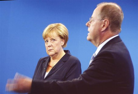A TV duel of German Chancellor Angela Merkel of the Christian Democratic Union (CDU) with her challenger, the top candidate of the Social De