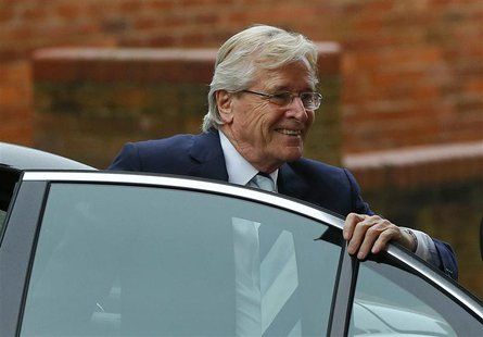 British actor William Roache, who plays the character of Ken Barlow in the soap opera Coronation Street, arrives for a hearing at Preston Cr