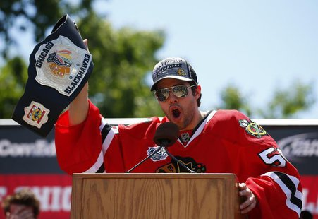 Chicago Blackhawks goalie Corey Crawford addresses the crowd during a rally at Hutchinson Field in Grant Park in Chicago June 28, 2013. REUT