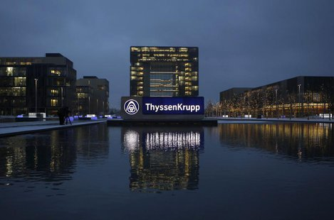 The headquarters of Germany's industrial conglomerate ThyssenKrupp AG is pictured before its annual news conference in Essen December 11, 20