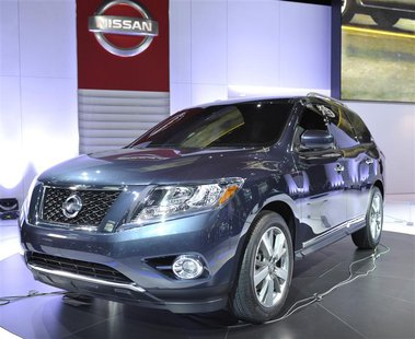 The Nissan Pathfinder concept vehicle is displayed on the final press preview day for the North American International Auto Show in Detroit,