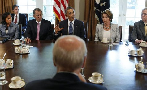 U.S. President Obama (rear C) meets with bipartisan Congressional leaders in the Cabinet Room at the White House in Washington to discuss a