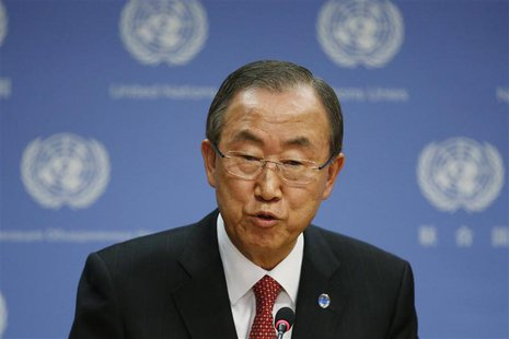 United Nations Secretary-General Ban Ki-moon speaks during a news conference at the U.N. Headquarters in New York, September 3, 2013. REUTER