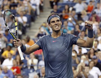 Rafael Nadal of Spain celebrates defeating Philipp Kohlschreiber of Germany at the U.S. Open tennis championships in New York, September 2,