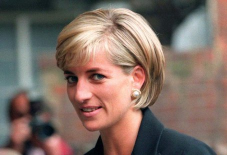 Princess Diana arrives at the Royal Geographical Society in London for a speech on the dangers of landmines throughout the world June 12, 19