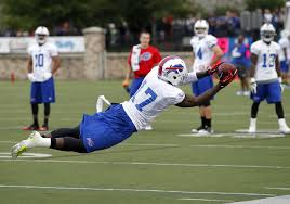 Da'Rick Rogers extends on a pass during camp for the Buffalo Bills.