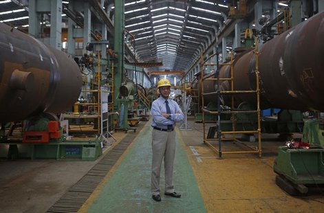 M. V. Kotwal, president of Larsen & Turbo Heavy Engineering, poses inside the company's manufacturing plant in Mumbai June 17, 2013. REUTERS