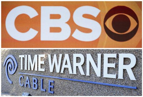 Combination photo shows the CBS logo on stage during CBS portion the 2013 Winter Television Critics Association Press Tour in Pasadena and t