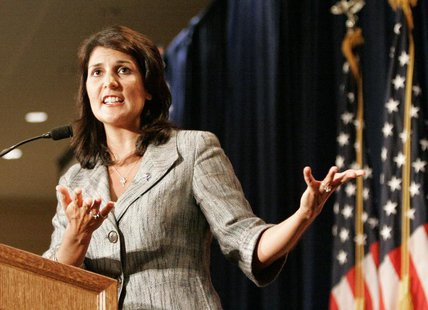 South Carolina's Governor Nikki Haley gestures as she address the RedState Gathering of conservative activists in Charleston, South Carolina