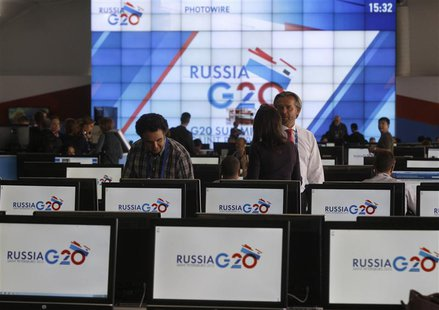 An interior view of the main press centre of the G20 summit is seen in Strelna near St. Petersburg September 4, 2013. REUTERS/Alexander Demi