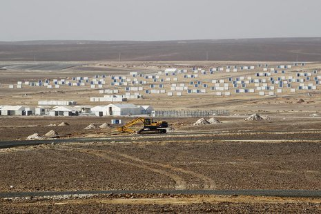 A general view of the Azraq Syrian Refugee Camp, the third of its kind, under construction near Al Azraq, 80km (50 miles) east of Amman, Sep