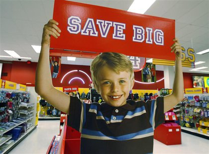A signage offering big savings in the back to school supply department is pictured at a Target store in Los Angeles, California August 18, 2